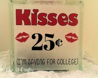KISSES FOR SALE  Glass Block   Bank   Piggy Bank Decor  ChicNCrafty
