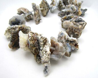 Very Large and Jagged Druzy Agate Asymmetrical Stone Disc Cream Rust Ivory Grey Rustic Crusty Rough Organic Earthy Beads Strand