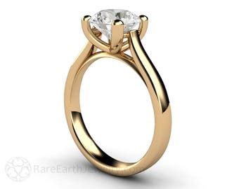 Moissanite Engagement Ring 2ct Solitaire Conflict Free Custom Wedding Ring