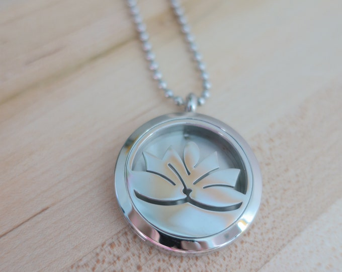 Featured listing image: Lotus Diffuser | Aromatherapy | Hypoallergenic | Stainless Steel | Essential Oil | Necklace Diffuser | Diffuser Felt Pads | Diffuser Locket