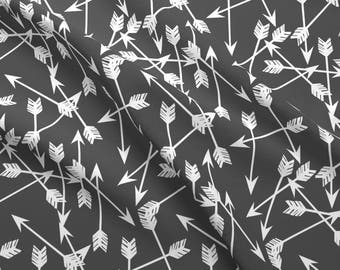Arrows Fabric - Arrows Scattered / Grey Charcoal And White Kids Room Nursery By Andrea Lauren - Cotton Fabric by the Yard with Spoonflower