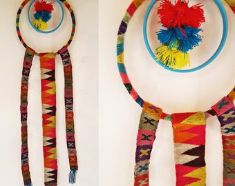 handmade Puyto Wall Hanging- Made with Colorful Handwoven Vintage Quechua Trim from Peru