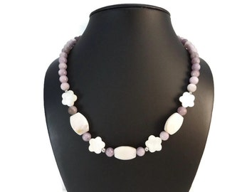Purple Stone Necklace White Mother Of Pearl Beads, 925 Lilac Stone and Off White Mother of Pearl Necklaces, Pastel Purple Beaded Necklace