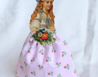 Victorian Girls Dolls, Vintage inspired paper and cloth doll, Handmade Cloth and German Scraps Paper doll, Handmade doll