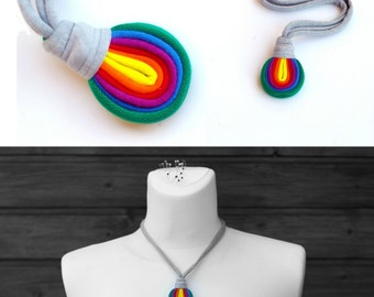 Upcycled LOOG fiber necklace/Rainbow/Navy/Recycled/Handmade colorful/Repurposed material/Soft/Eco friendly/Jersey stripes
