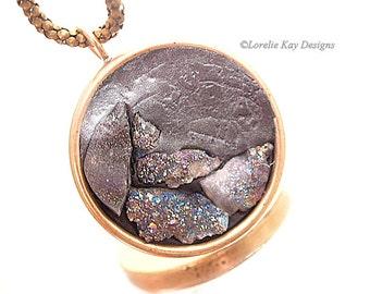 Druzy Quartz Necklace Peacock Colors Organic Design Brass Raw Mineral Necklace