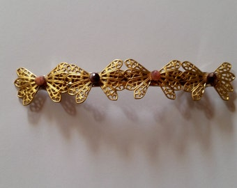 Gold Metal Filigree Beaded Bow French Barrette, for weddings, parties, special occasions