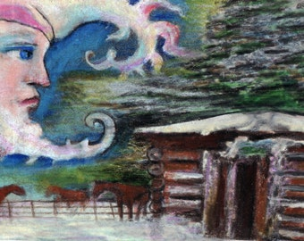 original art drawing color pencil aceo moon watching over horses and cabin woods
