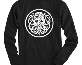 LS Cthulhu Symbol Tee - Long Sleeve T-shirt - Men S M L XL 2x 3x 4x - Monster, Fantasy, Horror, Mythos, Sea, Sailor - 4 Colors