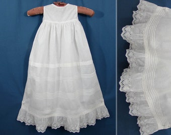 Antique Baby Slip Eyelet Lace Pin Tucks - long white cotton Victorian Edwardian ca 1900
