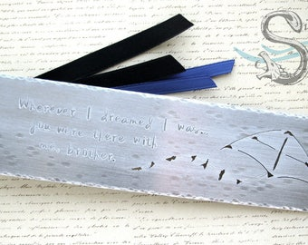 The Hardcover Bookmark - CUSTOM, ALUMINUM, personalized, handmade, stamped, large size, metal, quote, name, cutout, art