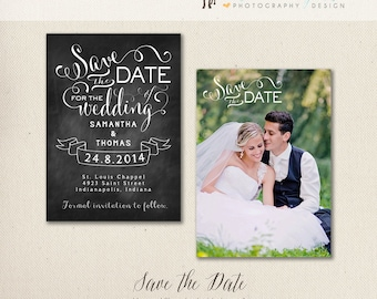 Premade Chalkboard Save the Date Card Template - 5x7 both sided, for Photographers