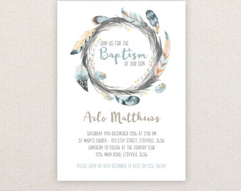 Christening/baptism Invitations. Feather Wreath. I Customize, You Print.