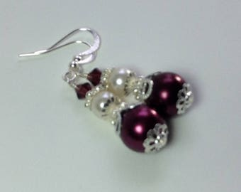 Wine Pearl and Crystal Bridesmaid Earrings