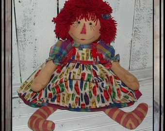 Hand embroidered folk art raggedy doll cloth rag doll yarn hair hafair ofg faap