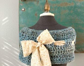 Prairie Garden Cowl - Crocheted Capelet in Aqua Blue