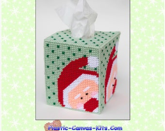 Peeking Santa Tissue Topper-Christmas-Plastic Canvas Pattern-PDF Download