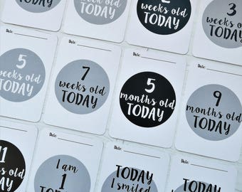 Monochrome Baby Milestone Cards. Neutral Monochrome Design. Celebrate your baby's milestone moments. Great Baby Shower Gift.