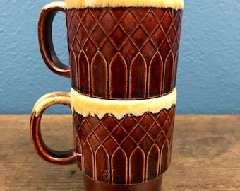 Vintage Stackable Stoneware Mugs - Made In Japan