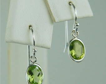 Memorial Day Sale Peridot Dangle Earrings Sterling Silver 7x5mm Oval 1.70ctw Backset Drop Natural Untreated