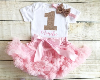 Personalised Rose Gold & Pink First Birthday Tutu Outfit, Glitter Number, Copper Matching Headband Baby Girl, 1st Cake Smash One Name 1