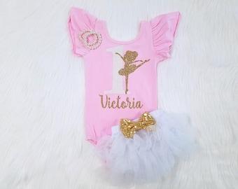 Ballerina Birthday Outfit Ballerina Leotard 1st Birthday Outfit 1st Birthday Leotard Ballerina Second Birthday First Birthday Shirt, Any Age