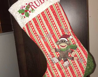 Sock Monkey, Embroidered, Christmas, Stocking, Christmas Stocking, cute, personalized, child, JOY, snowflakes, ice skates, stripes