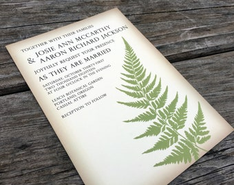Rustic Fern Wedding Invitation, Greenery Invitation Set, Vintage Botanic Wedding Invite Suite, Green, Ivory, Brown