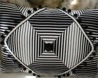 Black and white designer pillow.  Hand designed.
