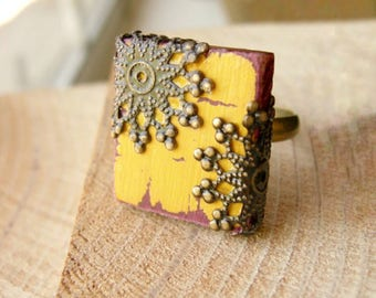 Cottage Chic Ring Mustard Yellow French Country Repurposed Scrabble Tile Adjustable  - The Grand Hall - Nickel Free
