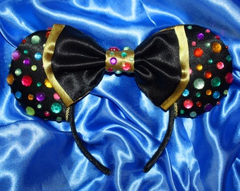 Black and Gold Mouse Ears Headband Featuring Colored Gems