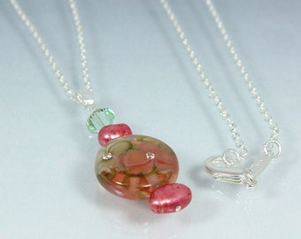 Lampwork Pendant, Sparkling Rosy Mocha Crystal and Pearl