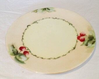 "Early 1900's Hand Painted Cherries Bavarian Sevres Thomas- 9 1/4"" Plate"