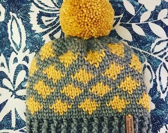 Crocheted Ikat Toddler Beanie with Pom Pom
