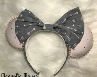 Millennial Pink and Gray Tribal Custom Minnie Ears