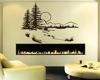 Wall Decal Sticker Bedroom Beautiful Nature Mountains Trees Sun River Room Decor 317b