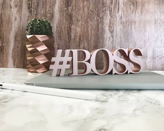 Hashtag Boss Sign   #BOSS   Self Standing Decor   Perfect for the Office   Lady Entrepreneurs   Boss Lady   Desk, Office, or Home Decor