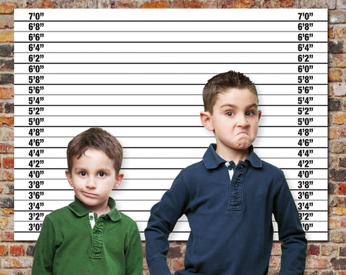 Police Mugshot Backdrop - 36x48 inch - or -  A0 Size Backdrop, Cops & Robbers, Spy, Secret Agent Party | INSTANT Download DIY Printable PDF