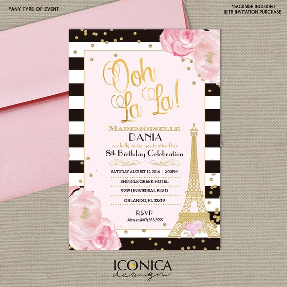French Birthday Invitation BLACK and WHITE Stripes Paris Ooh