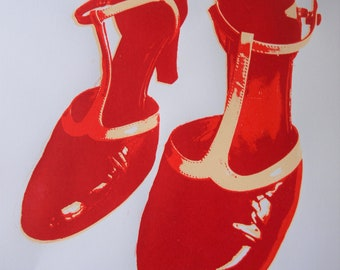 Red Shoes, screenprint on paper, red, shoes, dancing shoes, shiny patent leather, green shoes,