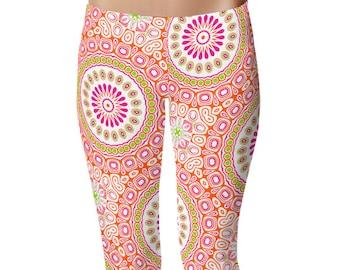 Colorful Spring Leggings, Bright Patterned Yoga Tights, Pink and Orange Mandala Flower Yoga Pants