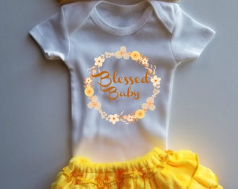 Baby Girl yellow bloomer set/Blessed Baby/Christian baby clothes/complete clothing set/summer baby girl clothes/baby girl shower gift set