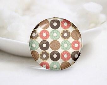 Handmade Round Doughnut Photo Glass Cabochons (P3469)