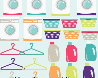 INSTANT DOWNLOAD    Laundry Clipart hangers, laundry baskets, detergent clipart Chores  Scrapbook