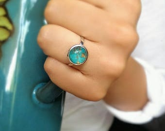 Sterling silver turquoise ring - gemstone ring - blue stone ring - modern ring - December birthstone ring - promise ring - free shipping USA