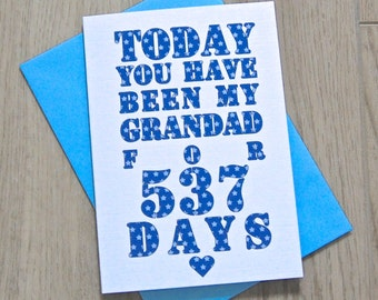 Days You've Been My Grandad Card – Personalised Father's Day Card – Card for Grandad – birthday card for grandad –Christmas card for Grandad