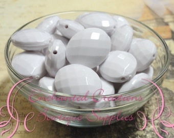 24mm x 20mm White Oval Faceted Acrylic Beads Qty 10
