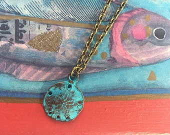 Sand dollar necklace - copper patina sand dollar - beach lover gift