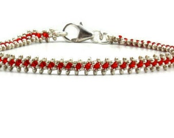 Silver and Red Beaded Anklet - Karen Hill Tribe Silver Ankle Bracelet - Summer Beach Wedding Anklet - Vacation Bridal Jewelry