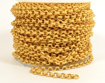 10ft - 18K Gold Plated Rolo Chain - 4.8mm Matte Gold - CH80-18K-Mg